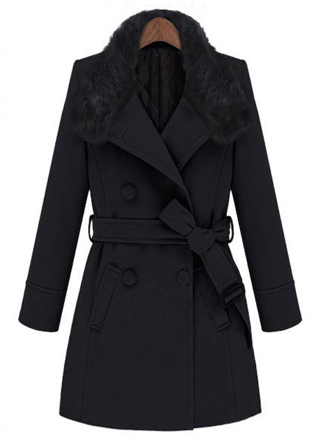 Luxury Fur Decoration Double Breasted Trench Coat - Black