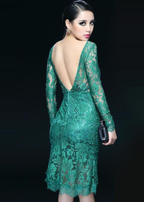 Amazing Open Back Long Sleeve Lace Dress For Party - Green on Luulla