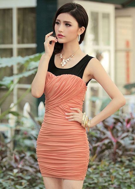 Sheath Woman Ruched Dress with Round Neck - Orange