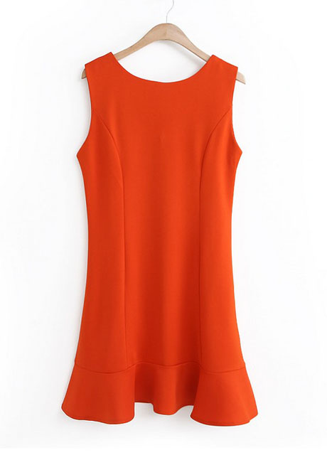 Orange Sleeveless Crew Neck Mini Fit and Flare Dress Featuring Ruffle Hem