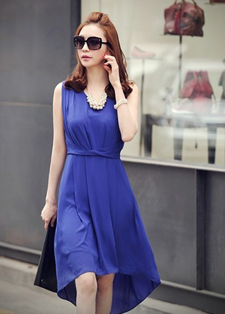 Charming V Neck Empire Waist Blue High Low Hem Chiffon Dress