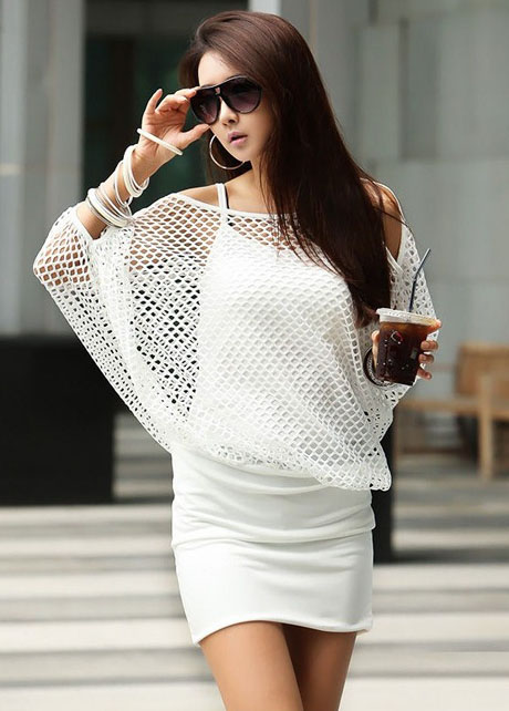 Chic Three Quarter Sleeve Two Pieces Dress - White