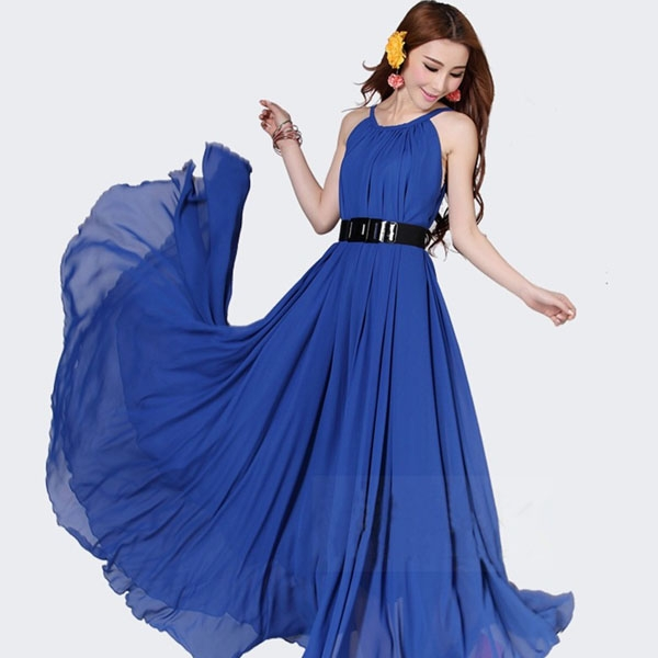 Fashion New Style Bohemian Put On A Large Chiffon Dress - Blue