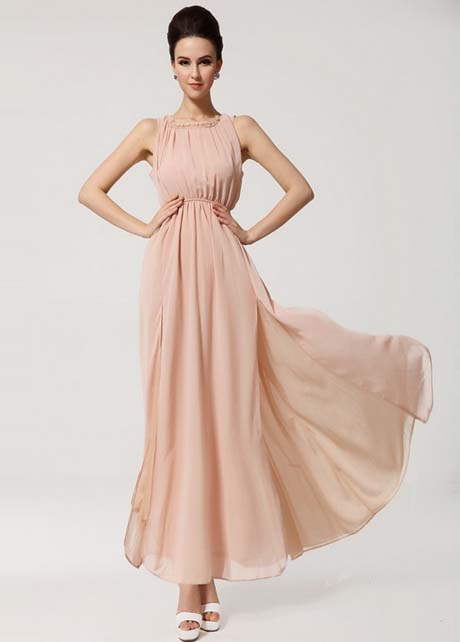 Vogue Slit Design Sleeveless Chiffon Long Dress - Pink