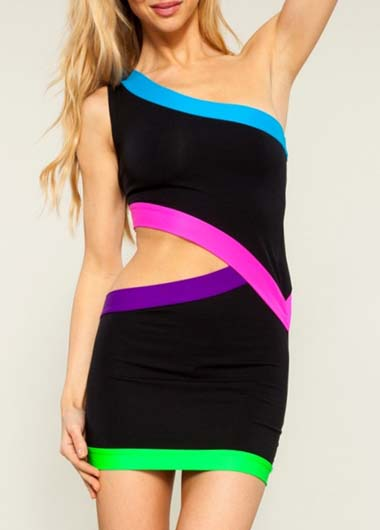 Chic One Shoulder Bodycon Dress with Cutout Waist - Black