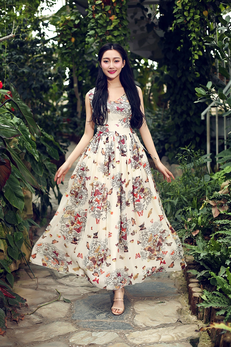 Designer Princess Style Chiffon Maxi Dress With Flowers