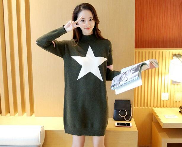 Cute Star Loose Pullover Sweater Dress - Army Green