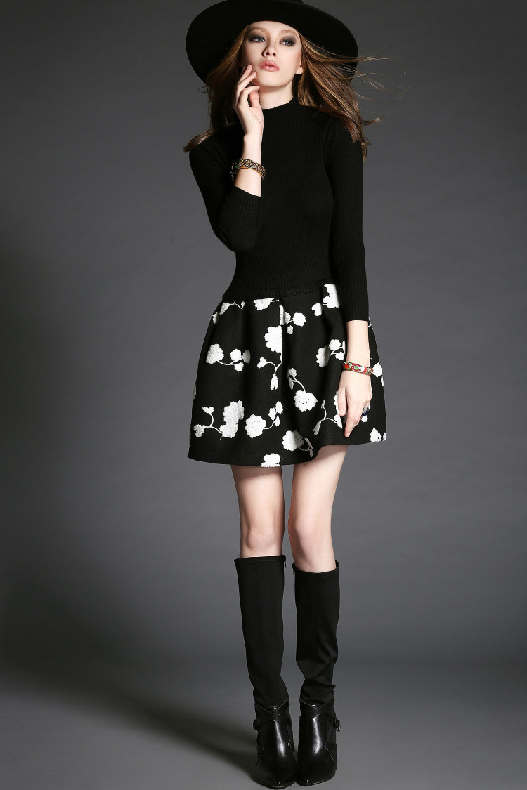 Luxury Designer Flower Patchwork Long Sleeve Dress