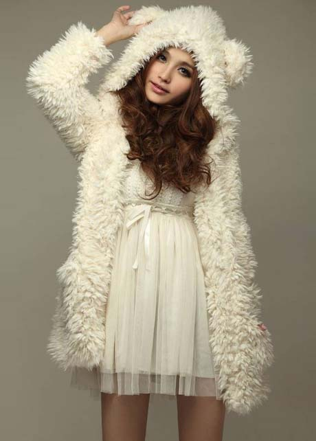 Cute Bear Hat Cashmere Winter Coat For Girls - White