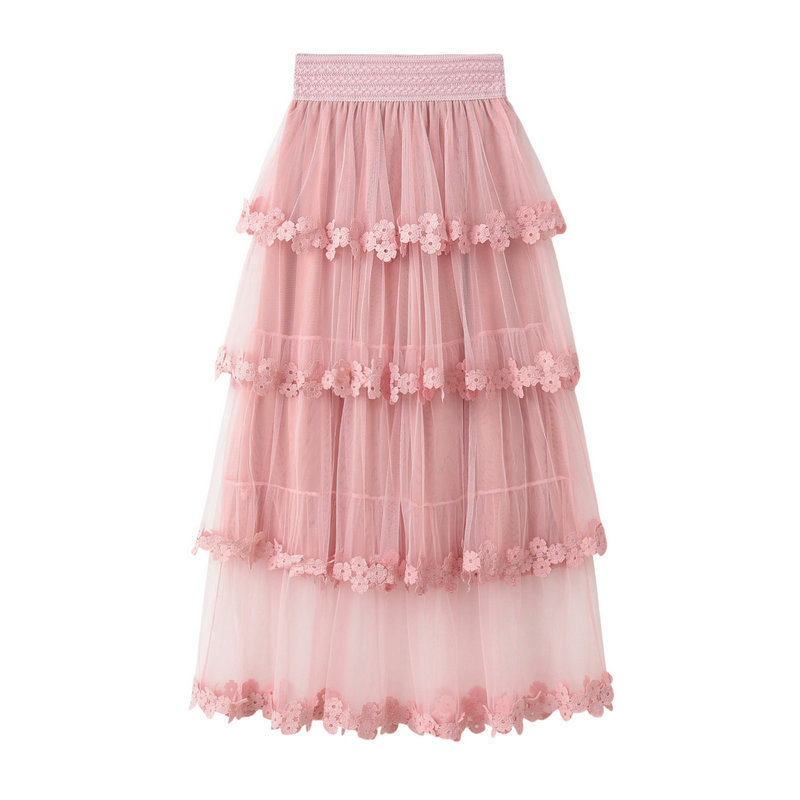 Fashion Cake Style Skirt for Summer - Pink