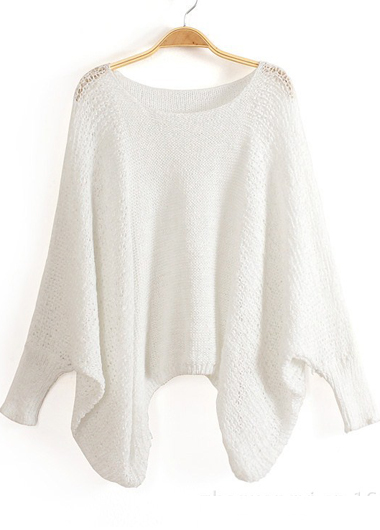 High Quality Loose Pattern Sweaters with Batwing Sleeve - White