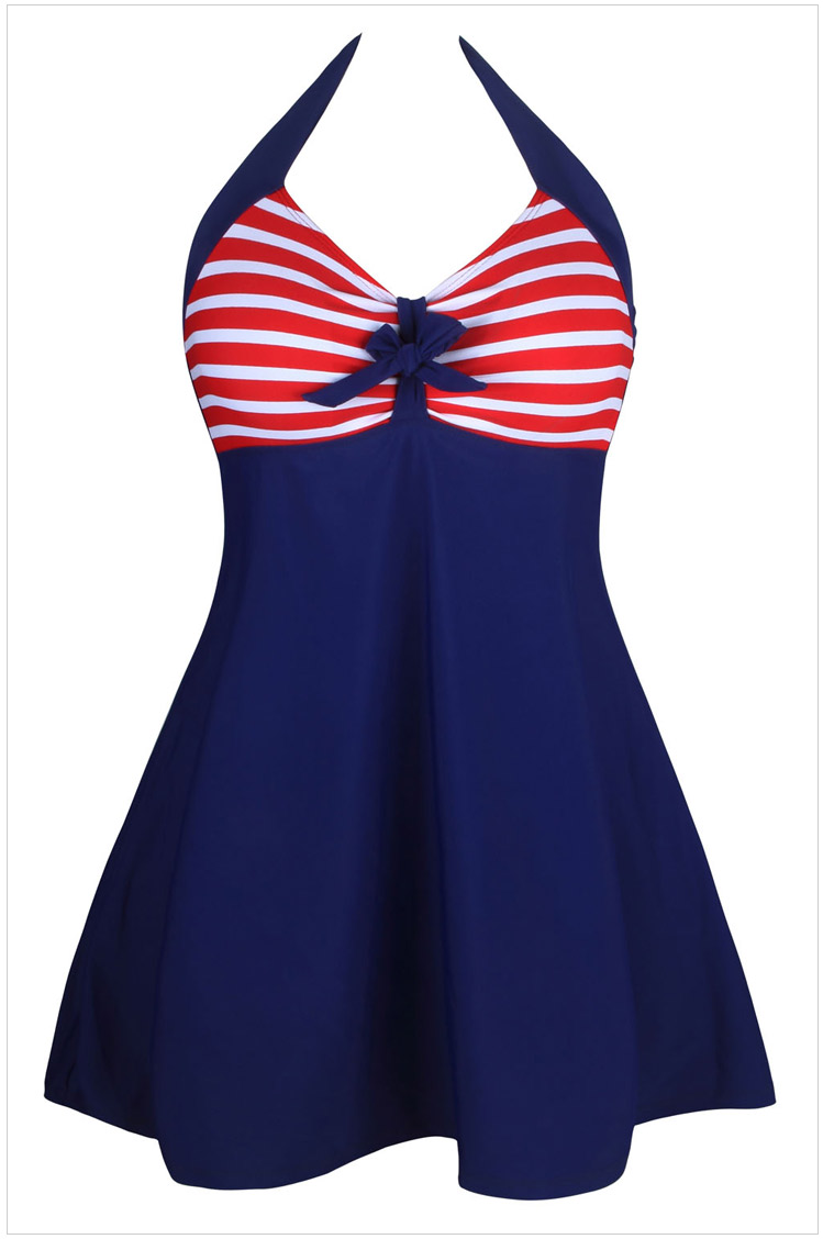 Halter Neck Bowknot Embellished One Piece Swimwear