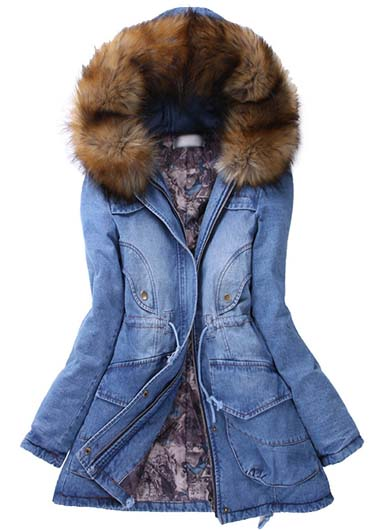 High Quality Jeans Style Long Sleeve Hooded Coat with Pocket For Woman