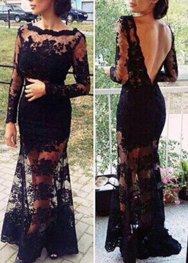 Sexy Open Back Boat Neck Lace Embroidery Dress - Black