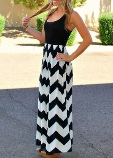 Zig zag black and white maxi dress