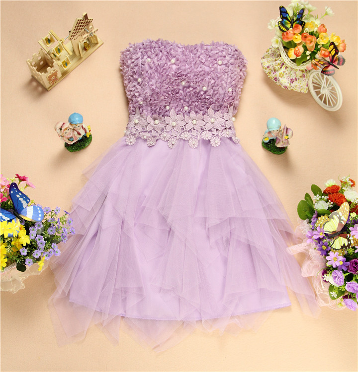 Sweet Gauze Sleeveless Purple Mini Dress Party Dress