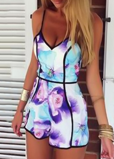 Fashion Flower Printed V Neck Spaghetti Strap Rompers