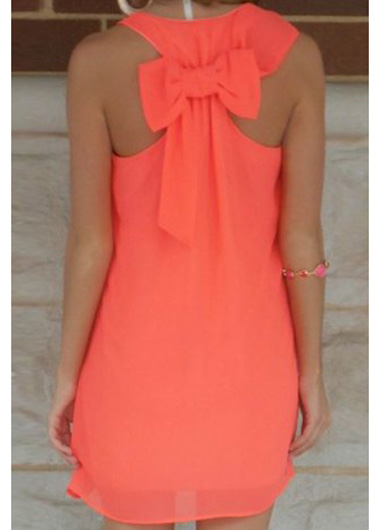 Cute Bowknot Embellished Round Neck Straight Chiffon Dress - Orange