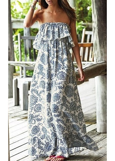 d247bbef1474 Bohemian Style Printed Flouncing Strapless White Maxi Dress on Luulla