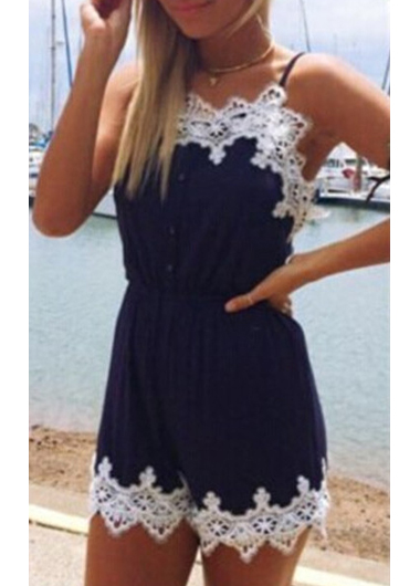 New Lace Embroidery Navy Blue Strappy Romper
