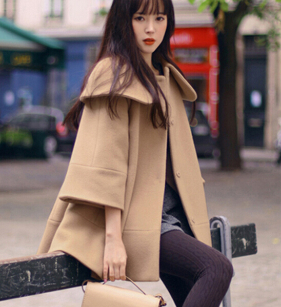 Fashion Turndown Collar Woolen Cape Coat For Women