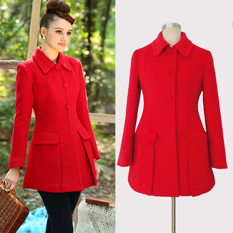 Luxury New Red Wool Coat on Luulla