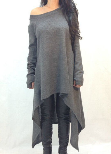 Fashion Round Neck Dark Grey High Low Sweater For Women on Luulla