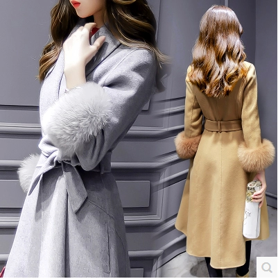 High Quality V Neck Turndown Collar Woolen Coat For Lady (3 Colors)