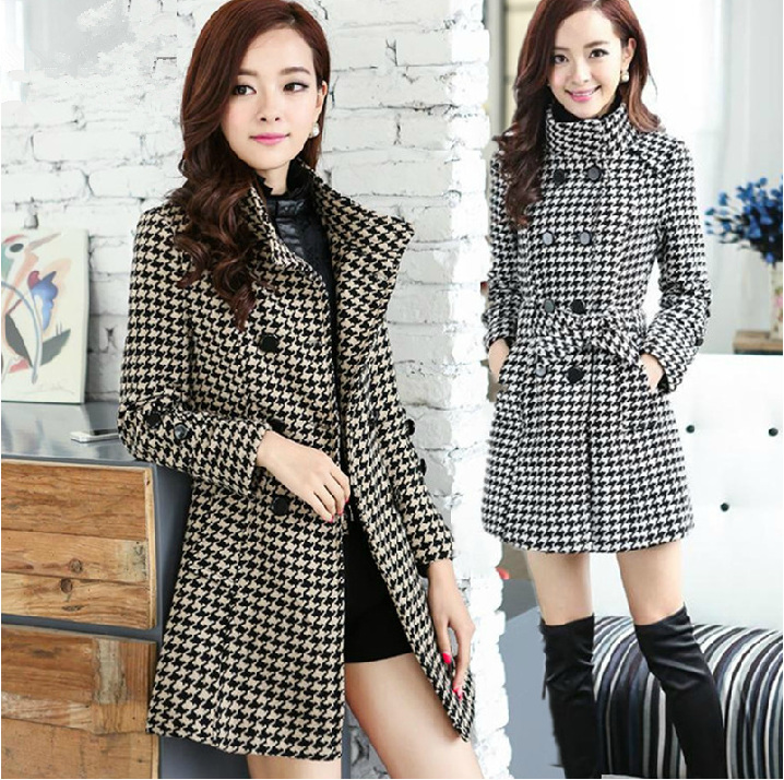 High Quality Double Breasted Grid Faux Fur Coat - Navy Blue