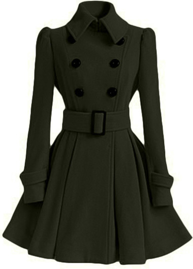High Quality Long Sleeve Belted Coat - Army Green