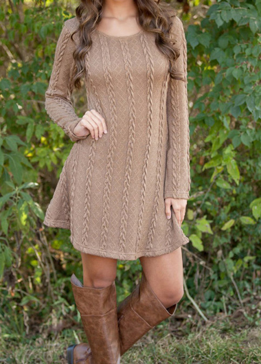 Fashion Round Neck Mini Sweater Dress (2 Colors)