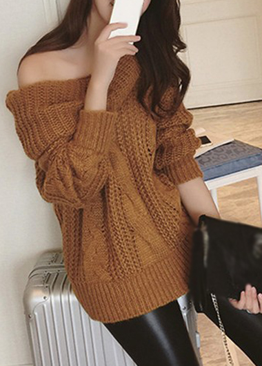 Sexy Off The Shoulder Long Sleeve Brown Sweater For Women On Luulla