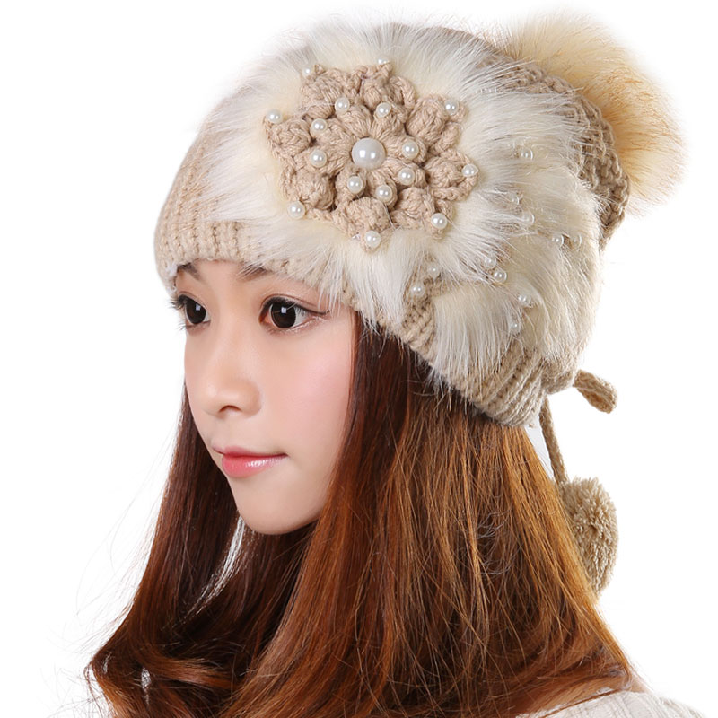 19148d17ec3 Free Shipping Knitted Hat Ball Beanies Winter Hat For Women - Khaki ...