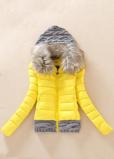 Fashion New Knitting Wool Splicing Hooded Winter Coat - Yellow