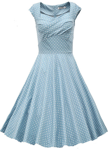 Cute Polka Dot Print Light Blue A Line Dress