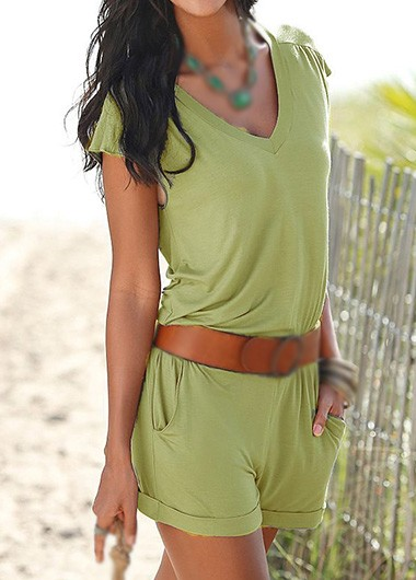 Sexy Cutout Back V Neck Short Sleeve Rompers - Wasabi Green
