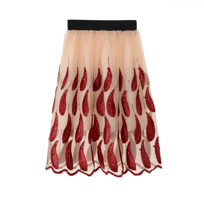 Sequins Feather Pattern Nice Skirt