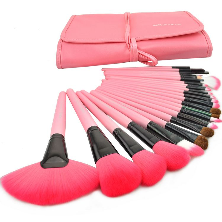 Free Shipping 24 Pcs/Set Makeup Brush Cosmetic Set Kit Packed In High Quality Leather Case - Pink