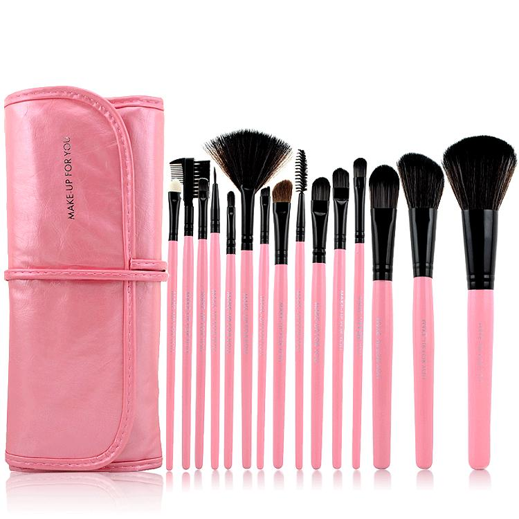 High Quality 15 PCS Professioal Makeup Brush Set with Leather Case - Pink