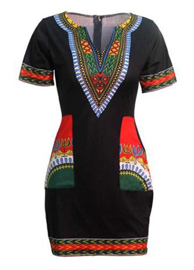 Free shipping Black Split Neck Dashiki Print Black Dress