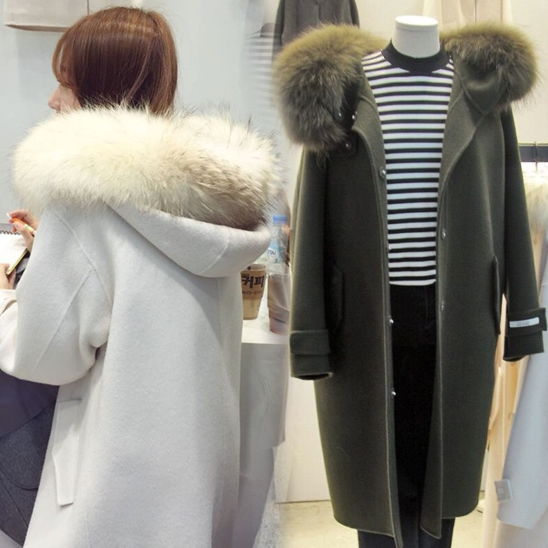 High Quality Hooded Collar Woolen Coat