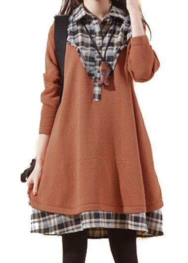 Casual Turndown Collar Long Sleeve Dress - Orange Red