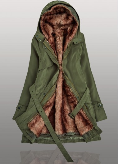 Free Shipping High Quality Hooded Collar Long Sleeve Belted Parka Coat For  Women - Arm Green 75dbf0a1fb82