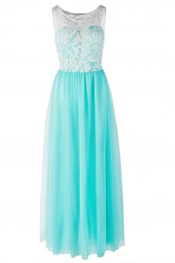 Fashion Lace Panel Gauze Turquoise Maxi Dress