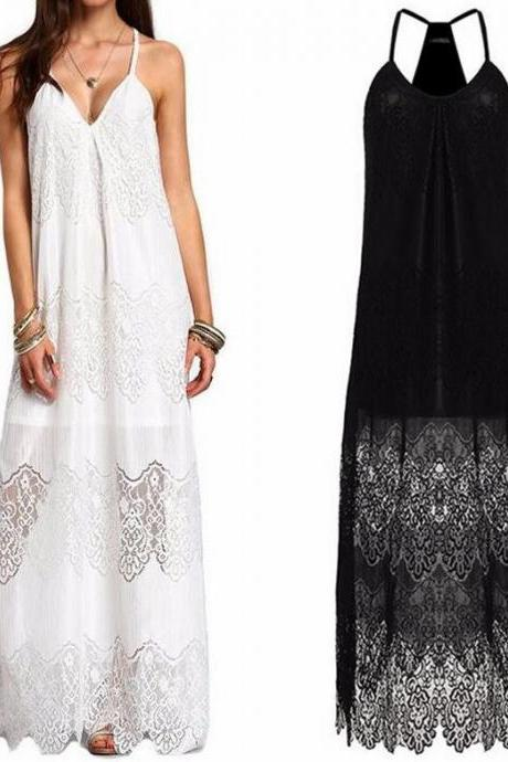 V-Neck Halter Lace Maxi Dress