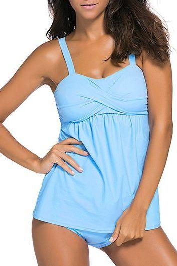 High Quality Padded Open Back Tankini - Blue