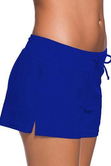 Free Shipping Good Quality Drawstring Waist Swimwear Shorts - Blue