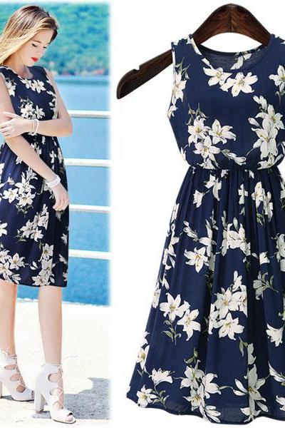 White Floral Print Navy Blue Crew Neck Sleeveless Knee Length A-Line Dress