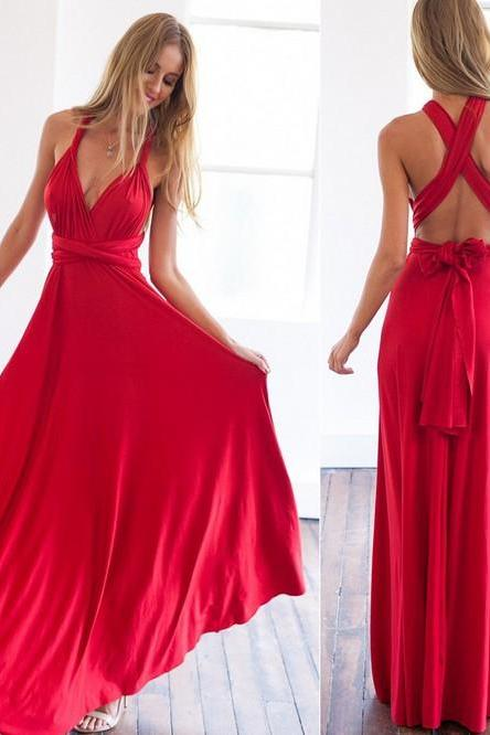Good Quality Hollow Back Party Pleated Maxi Dress - Red
