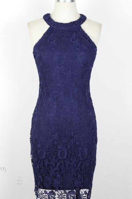 Fashion New Sleeveless Lace Halter Sheath Dress - Navy Blue